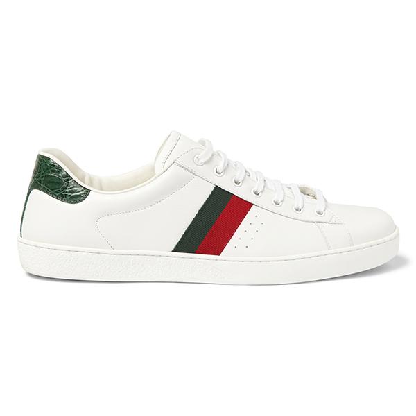 Men's White Low Top Sneakers (5)