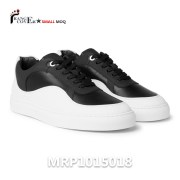 Two-Tone Leather Sneakers is made by black and white genuine leather. White lace in cotton. White rubber soles with stitching. All details we can make customized or we can make your design.