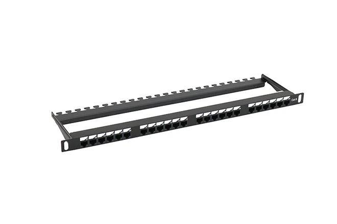 0.5U 180° UTP Patch Panel Cat.5e 24 Port Aluminium Alloy