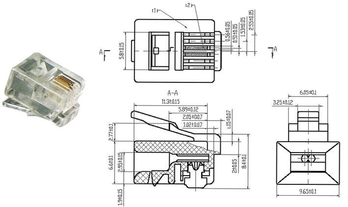 China High Quality RJ11 6P2C Modular Plug Telephone