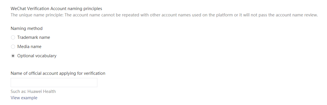 Choosing the correct name for you WeChat Official Account