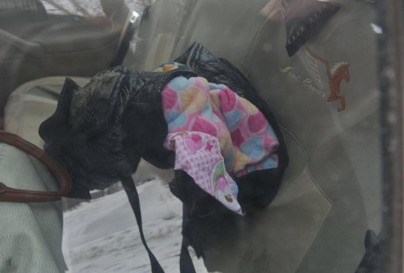The baby's blanket and other items in the stolen car.