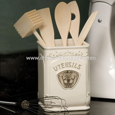 kitchen crocks kohler porcelain sink promotional butterflies and architecture utensil crock