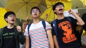 Nathan Law, Alex Chow et Joshua Wong en 2015