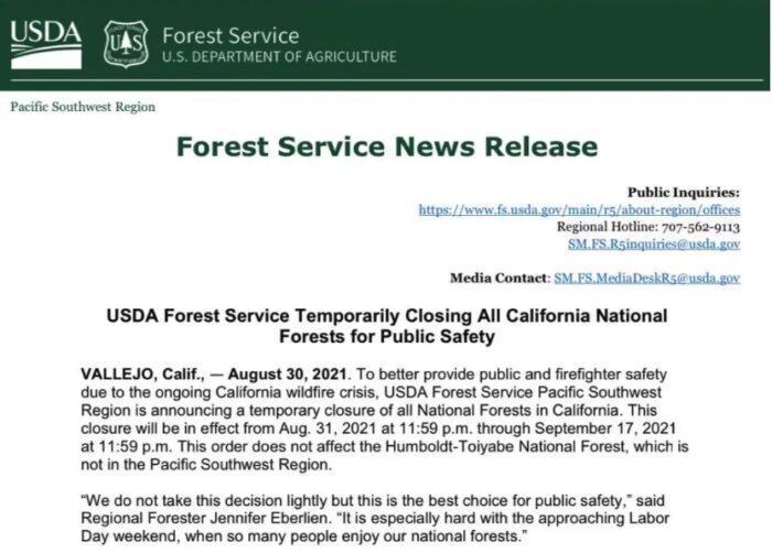 8月31日起 加州关闭所有国家森林公园