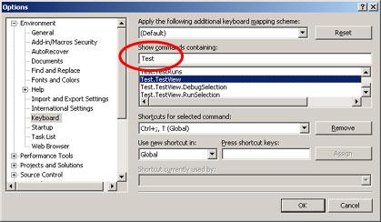 Visual Studio Options - Keyboard