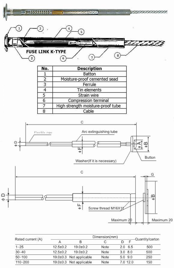 High Voltage Fuse Link Fuse Cable Fuse Holder