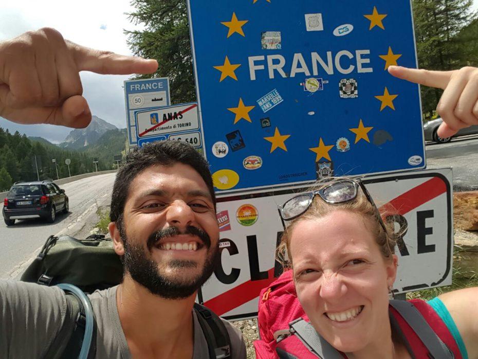 Noi al confine tra Francia e Italia.