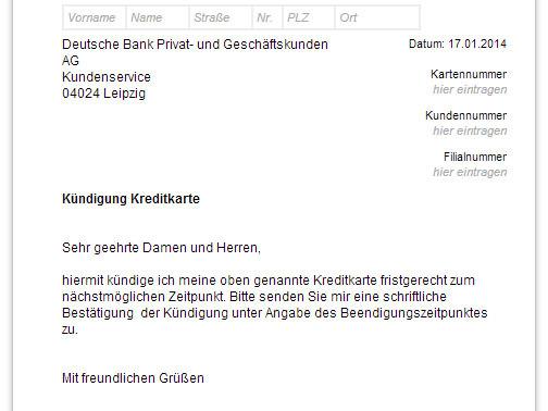 Deutsche Bank Kreditkarte kndigen  Vorlage  Download  CHIP