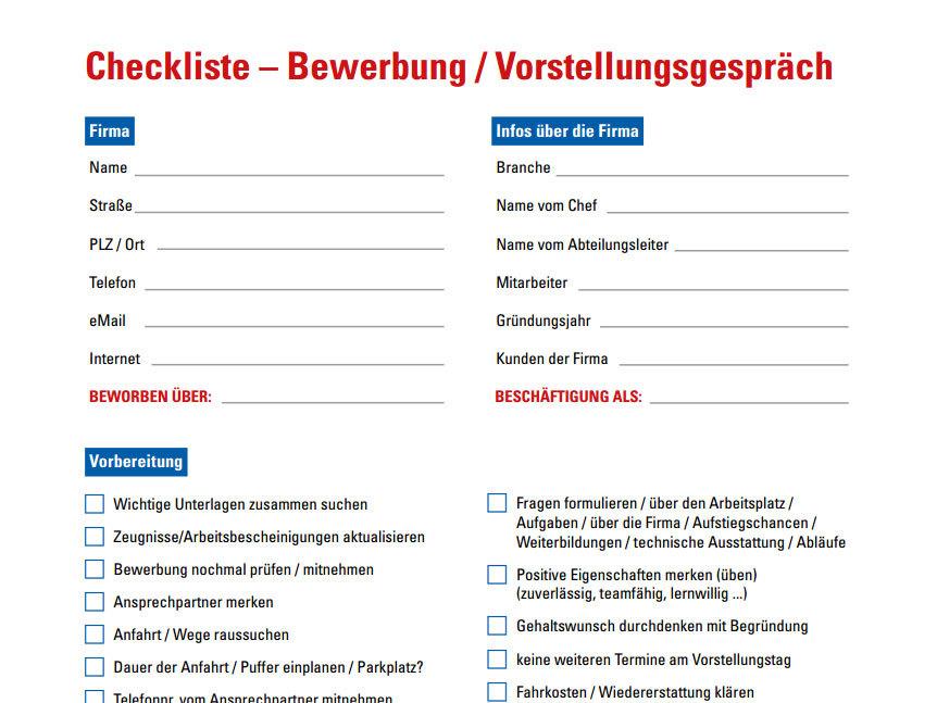 Bewerbungsgesprch  Checkliste  Download  CHIP