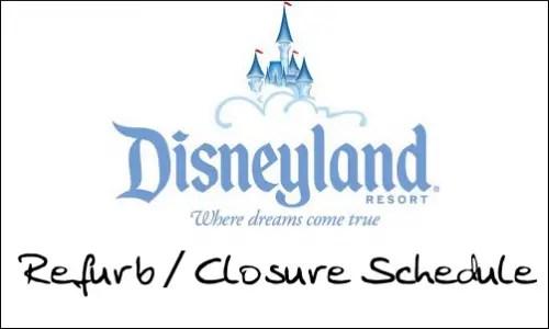 Refurb/Closure Schedule for Disneyland April 2010 1