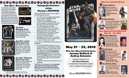 Schedule for 2010 Star Wars Weekends with Maps 2