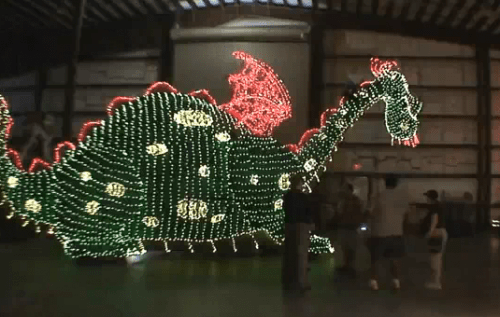 Main Street Electrical Parade behind the scenes in the Magic Kingdom parade barn 1
