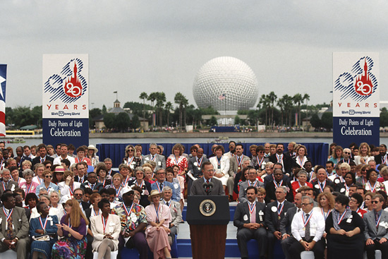 President George H.W. Bush Visiting Epcot in 1991