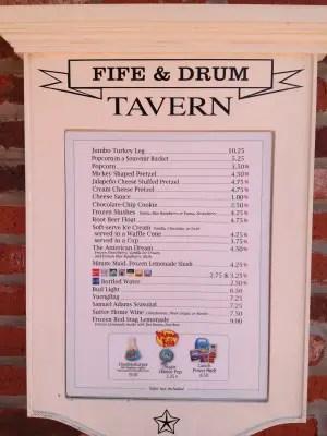 Fife & Drum Tavern Menu