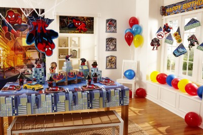 Spiderman party items on display