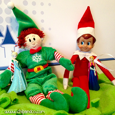Elves with Disney Ornaments.