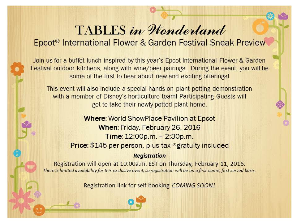 Epcot Flower & Garden Festival Sneak Preview for Tables in