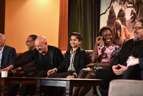 """LOS ANGELES, CALIFORNIA - APRIL 04: (L-R) Actors Giancarlo Esposito, Sir Ben Kingsley, Neel Sethi, Lupita Nyong'o and director Jon Favreau onstage at Disney's """"THE JUNGLE BOOK"""" Press Conference at The Beverly Hilton on April 4, 2016 in Los Angeles, California. (Photo by Alberto E. Rodriguez/Getty Images for Disney) *** Local Caption *** Giancarlo Esposito;Ben Kingsley;Neel Sethi;Lupita Nyong'o;Jon Favreau"""