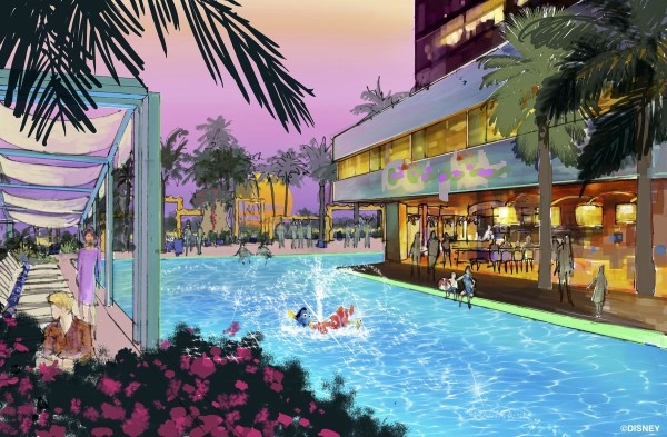 Concept art of one of the two pool areas proposed for the new luxury hotel at Disneyland Resort