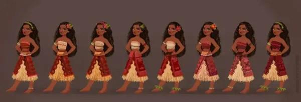 MOANA village costume designs. Artist: Neysa Bové, Visual Development Artist.