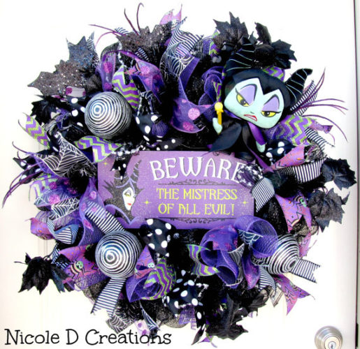 Beware of the Mistress of all Evil with the Maleficent Halloween Wreath