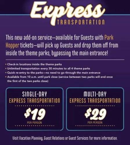 Walt Disney World Raises prices on Express Bus Transportation 2