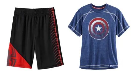 f2abfe613c Marvel Hero Elite Series Spidey triangle shorts, $24. Marvel Hero Elite  Series Captain America shield tee, $20