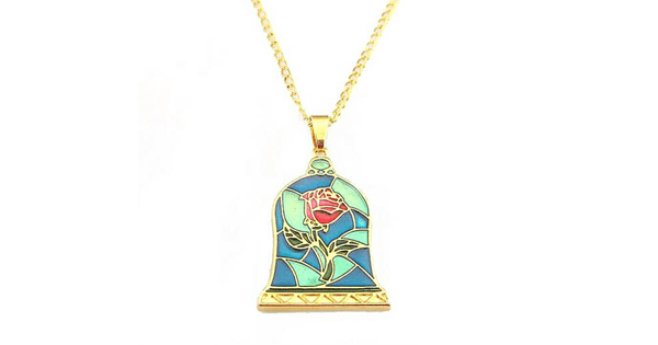Stained Glass Enchanted Rose Necklace