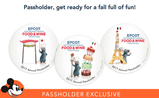 Annual Passholder Exclusive Buttons Available During Food and Wine Festival 1