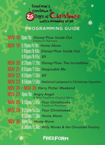Freeform Christmas Schedule.Freeform S Countdown To 25 Days Of Christmas Schedule Has