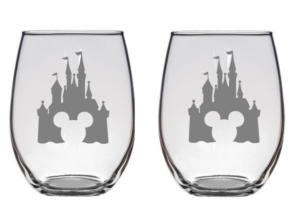 Disney Castle Wine Glasses
