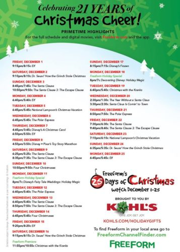 Abc 25 Days Of Christmas.Complete Schedule For Freeform S 25 Days Of Christmas