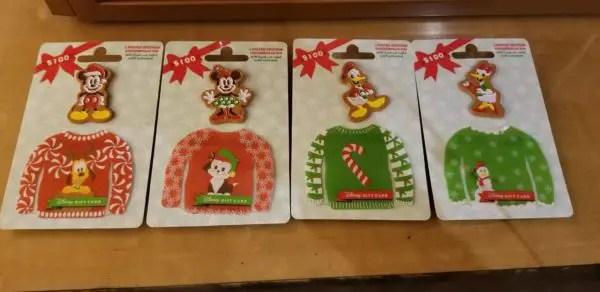 Disney Holiday Gift Card Pin Sets