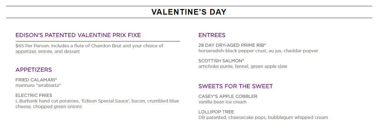 The Edison Celebrates Valentine's Day With A Patented Prix Fixe Dinner 1