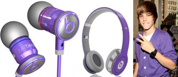 bieber1 572x249 Justbeats by Dr. Dre are Justin Biebers Favorite Color   Purple
