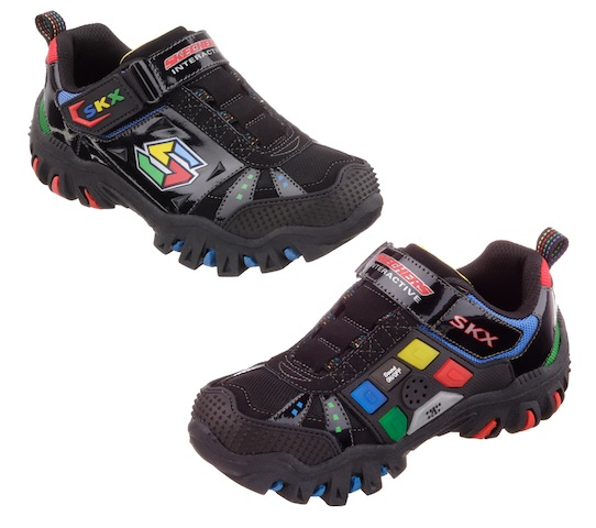 skechers shoes for boys. skechers is basically putting the simon light game on a shoe. each shoe has four lights\u2014blue, green, yellow, and red\u2014that up in sequence. shoes for boys