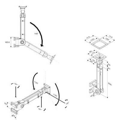 BRAZO MONITOR LCD/TFT SOBREMESA, A GAS, 3 PUNTOS D/PIVOTE