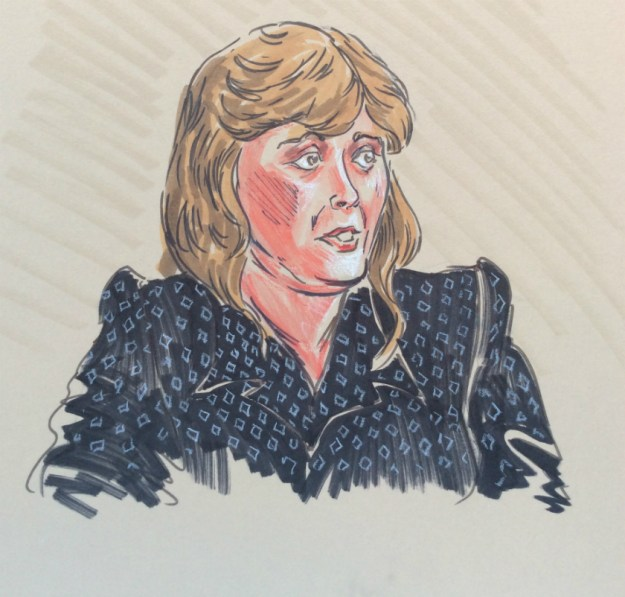 Courtroom drawing early 1990s Rachel Ketchum for WCCO T V witness