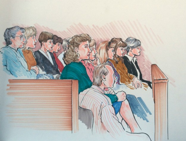 Rachel Ketchum courtroom drawing mid 1990s jury