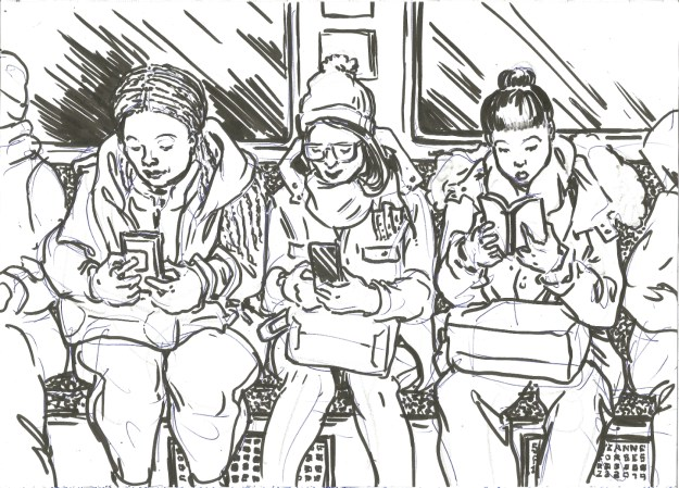 Unterwegs Jan 23 2019 A row of readers by Suzanne Forbes