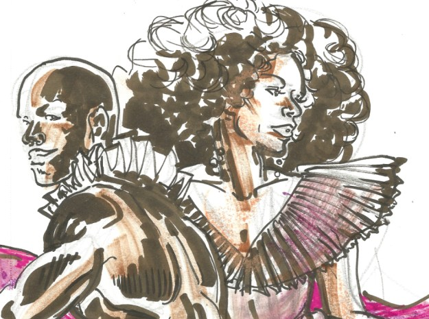 Biszhop Blaczk and Martini Cherry Furter at Red Hot Love Dr Sketchys Berlin Feb 17 2019 by Suzanne Forbes detail
