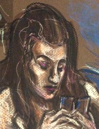 Sadie Lune pastel portrait detail Berlin Feb 13 by Suzanne Forbes