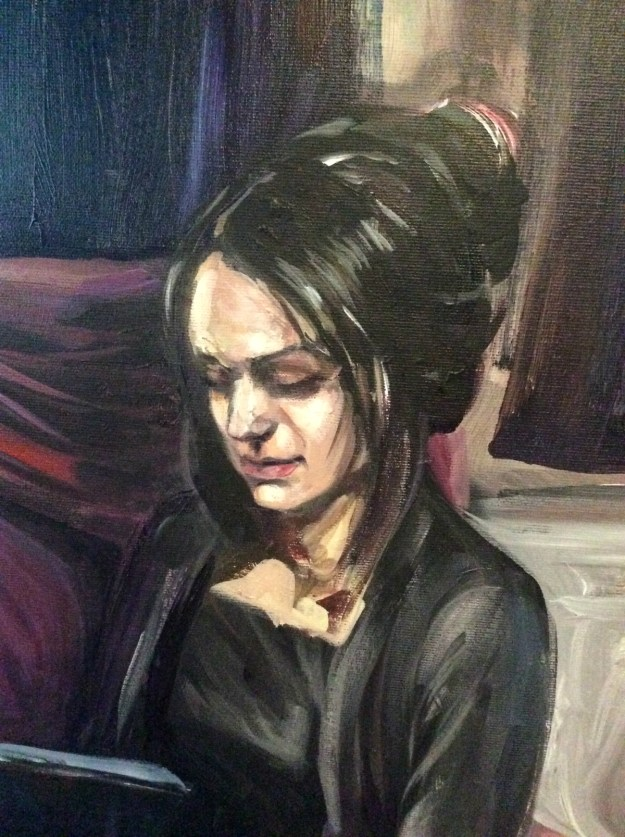 Work in progress portrait of Daria second sitting close up April 9 2019 by Suzanne Forbes