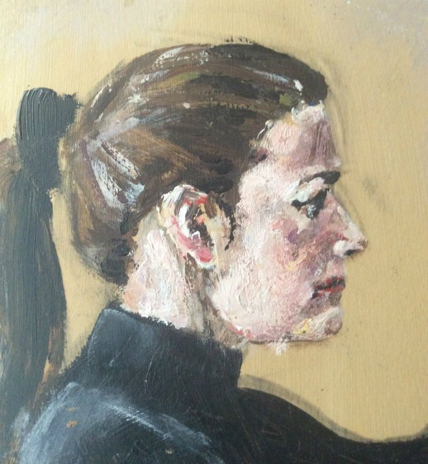 Portrait of Anita detail acrylic on masonite from winter 1990 Suzanne Forbes aka Rachel Ketchum