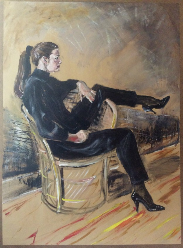 Portrait of Anita in black on masonite from winter 1990 Suzanne Forbes aka Rachel Ketchum