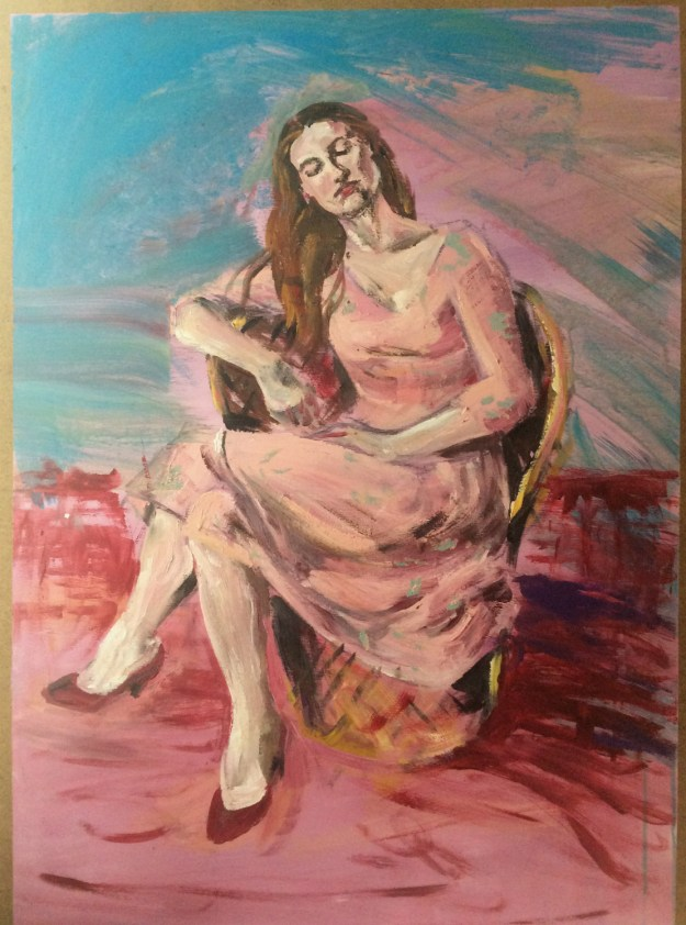 Portrait of Anita in pink on masonite from winter 1990 Suzanne Forbes aka Rachel Ketchum