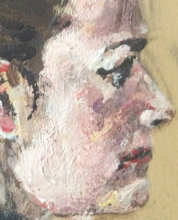 Portrait of Anita sm detail acrylic on masonite from winter 1990 Suzanne Forbes aka Rachel Ketchum