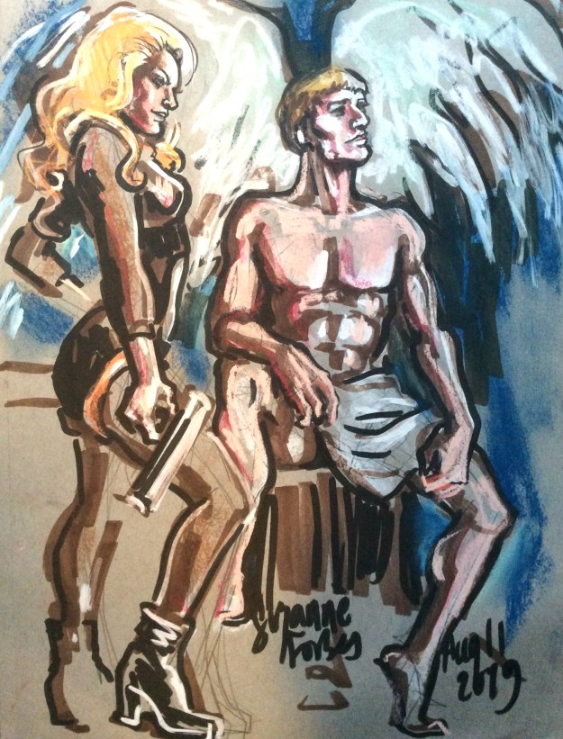 Lucille Spielfuchs and Sebastian Stone posed as Barbarella and Pygar Dr Sketchys Berlin Aug 11 2019 by Suzanne Forbes