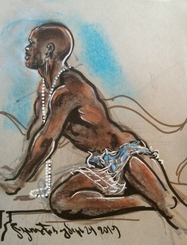 Bishop Black in pearls at Dr Sketchys Berlin by Suzanne Forbes Sept 29 2019
